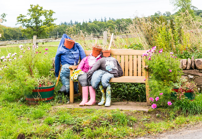 Scarecrows at side of Road Scotland.