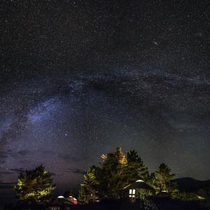 Yurt village under stars