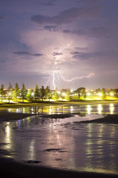 Lightning strike from Point Danger, VIC