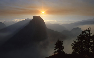 Half Dome at Yosemite National Park, forest fire season.