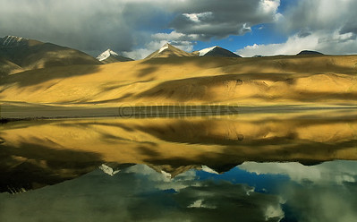 A29:Reflection on the Tso Kiagar Lake , Ladakh