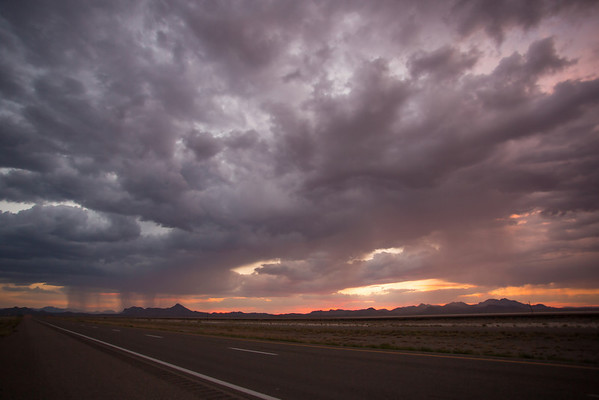 Stormy sunset from the road in New Mexico