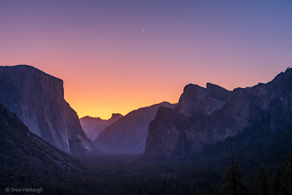 Tunnel View Crescent Sunrise Moon