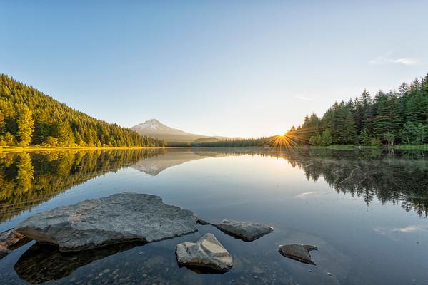 Trillium Lake Sunrise Fish Eye - Mount Hood-12