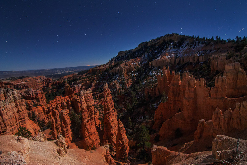 The Fairyland Point at Bryce Canyon National Park in The Moonlight