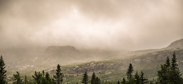 A foggy day in the mountains. The clouds were coming and going.
