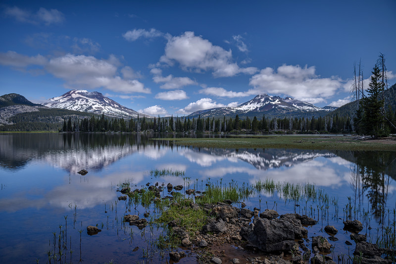 Early morning reflections of South Sister and Broken Top at Sparks Lake, Cascade Lakes Scenic Byway, Oregon