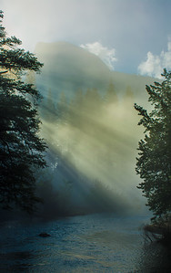 Half Dome and Merced River with Light Rays thru Fog