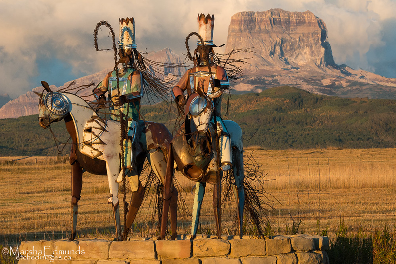 Blackfeet Warriors Sculpture at Dawn