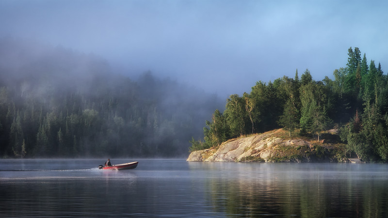 The fog lifting over Johnson Island at Laclu, Ontario