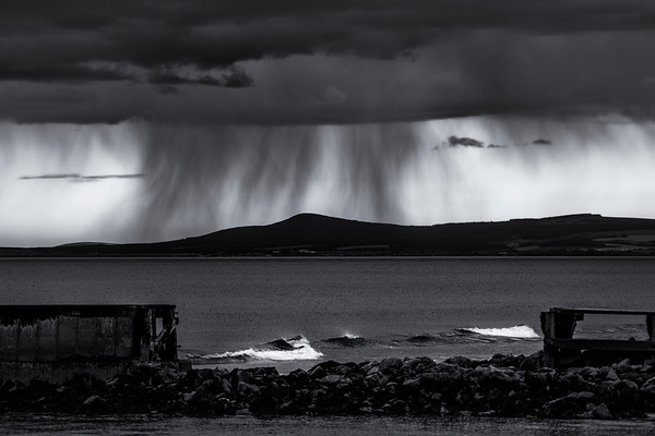 Rainstorm over the Bin of Cullen, Morayshire, Scotland
