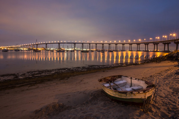 Coronado bridge as night falls