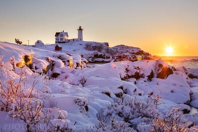 Nubble Light Winter Sunrise