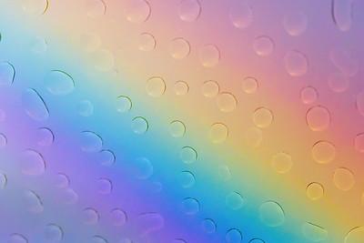 Rainbow Viewed Through Rain Drops