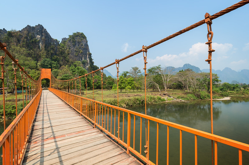 Suspension bridge in Vang Vieng