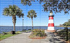 Mount Dora Lighthouse located at the Port of Mount Dora in Grantham Point Park, Florida, a very popular tourist landmark destination.  Mount Dora is part of the Golden Triangle.