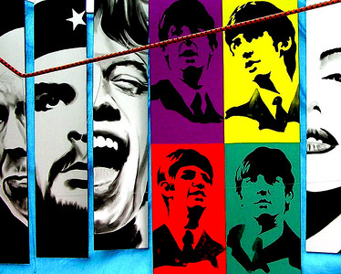 Havana, Cuba - Beatles, Mick Jagger and Che on poster in Havana