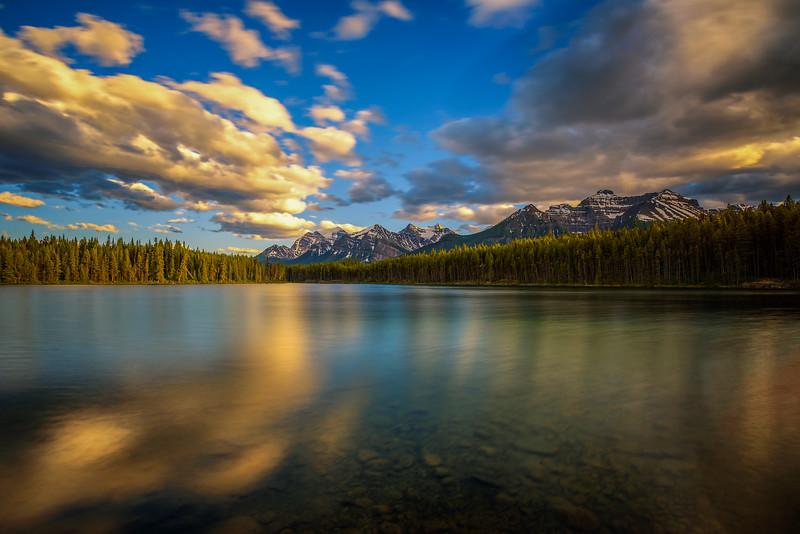 Sunset over Herbert Lake in Banff National Park, Alberta, Canada