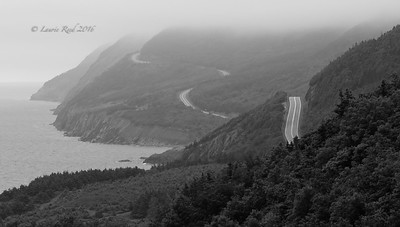 Foggy hills along the Cabot Trail.