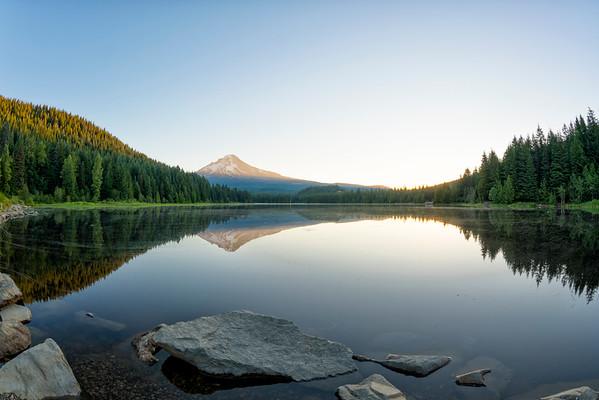 Trillium Lake Sunrise Fish Eye - Mount Hood-5
