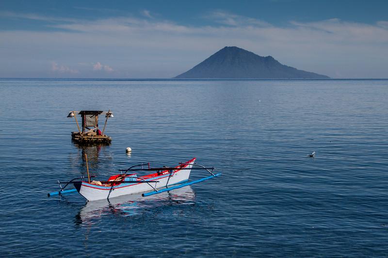 View of Bunaken National Park - Manado Tua volcano, Manado, Sulawesi.