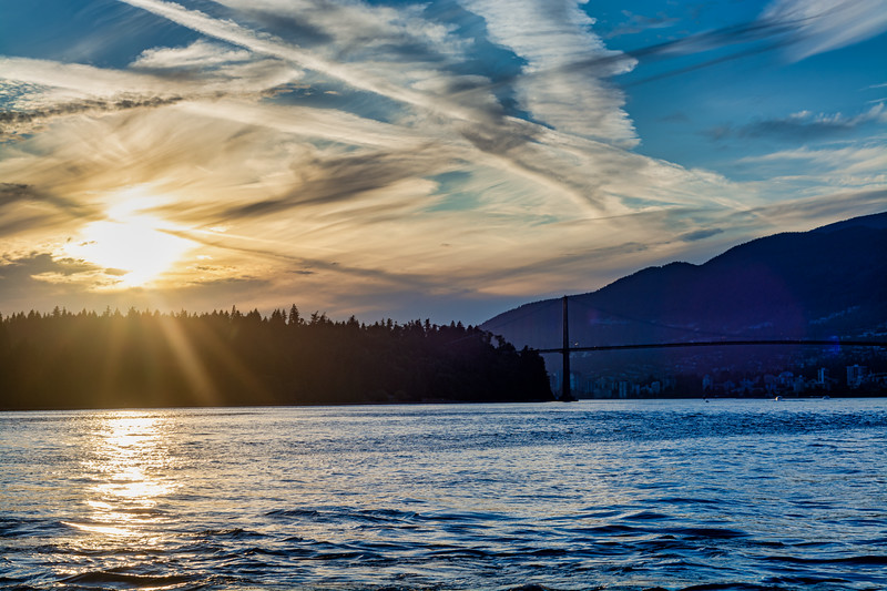 Lion's Gate Bridge at Sunset