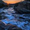 Sunrise over Swiftcurrent Falls, Many Glacier, Glacier National Park, Montana
