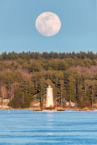 Full Moon Rising Over Loon Island Light
