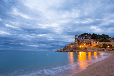 Tossa del Mar beach and castle at night.