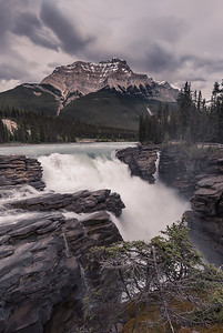Athabasca Falls and Mount Kerkeslin