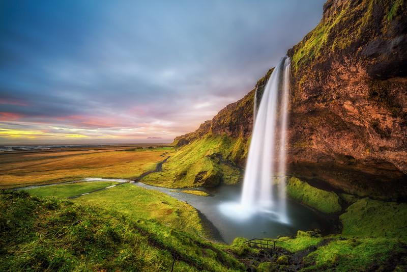 Seljalandsfoss Waterfall  in Iceland at sunset