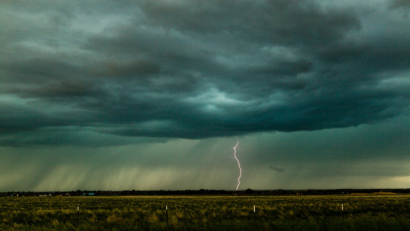 Thunderstorm with lightning strike, Northern Colorado, Spring