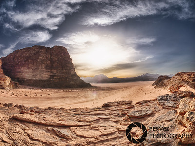 Sun going down on the red sands of the Wadi Rum desert in Jordan
