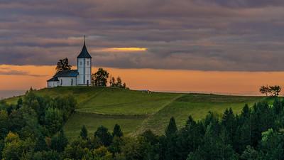 Sunset, Church of Saints Primus and Felician, Jamnik, Slovenia