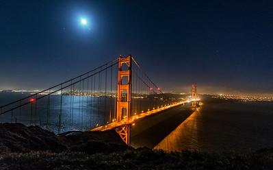 Golden Gate in moonlight