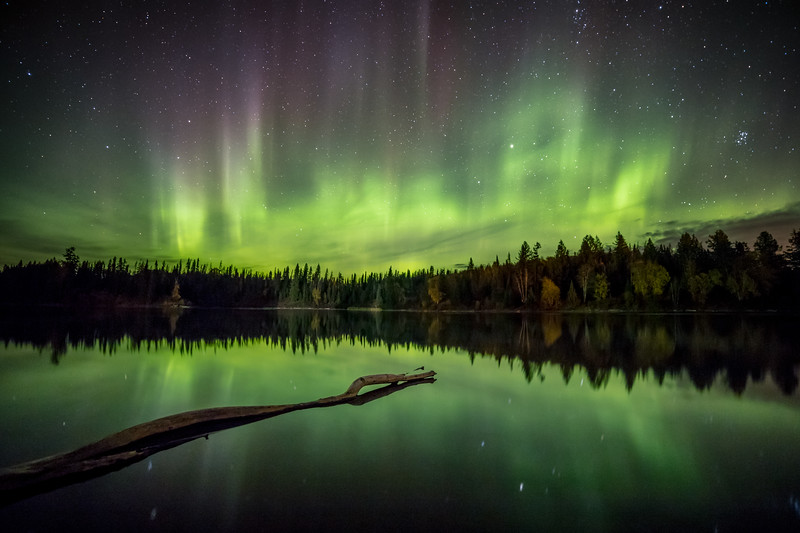 Ness Lake Aurora Reflection