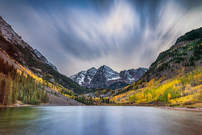 Propelling Clouds & Maroon Bells, Colorado