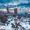 Wintry Sunrise at Balanced Rock, Arches National Park, Moab, Utah