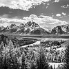 July 27 - Snake River overlook, Jackson Hole, Wyoming - black and white version<br /> <br /> The location made famous by Ansel Adams.  The trees have grown up to block the bend in the river that he was able to capture. <br /> <br /> This is the black and white version of the image I posted yesterday