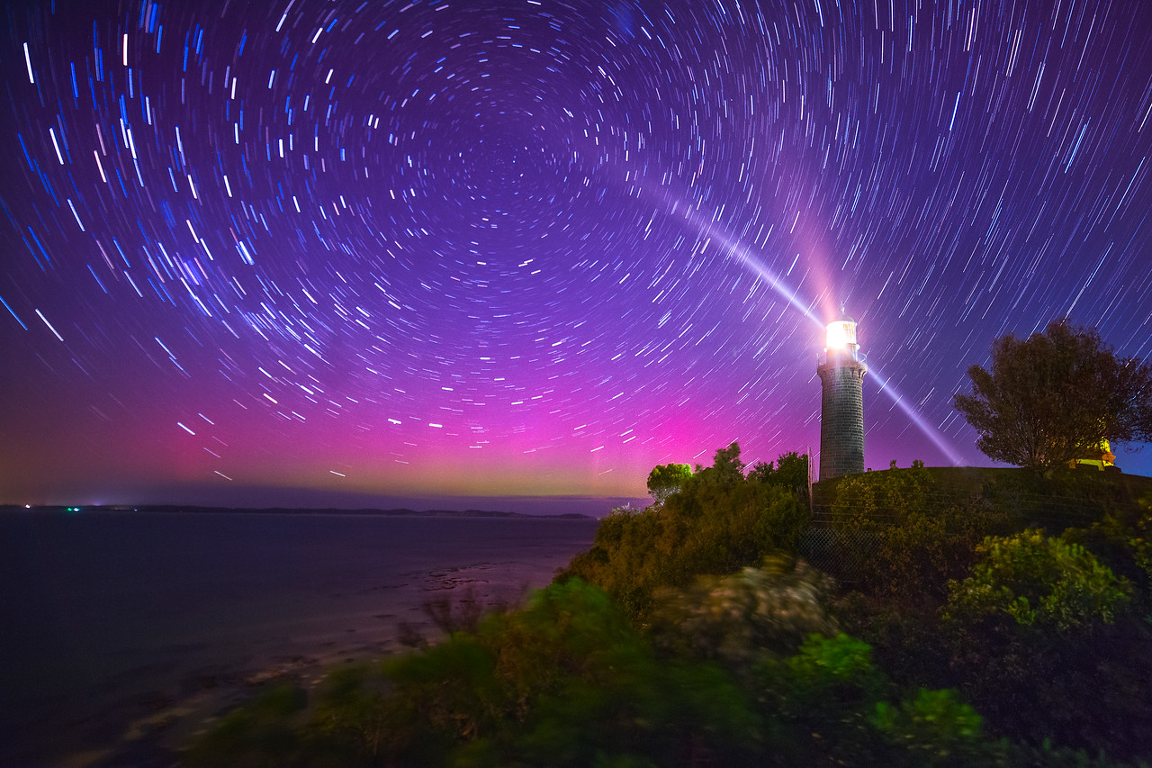 Star Trails Aurora Australis Black Lighthouse Queenscliff . Victoria