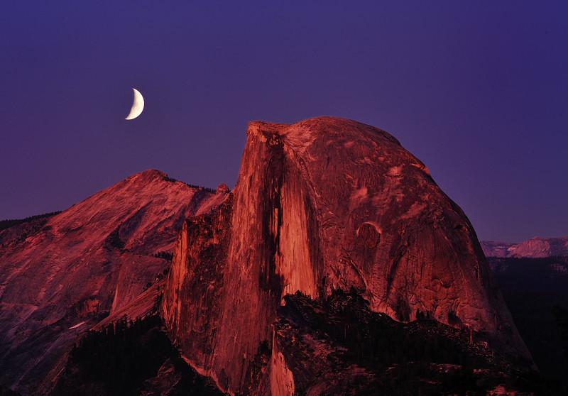 Moon Over Half Dome, Yosemite National Park, CA