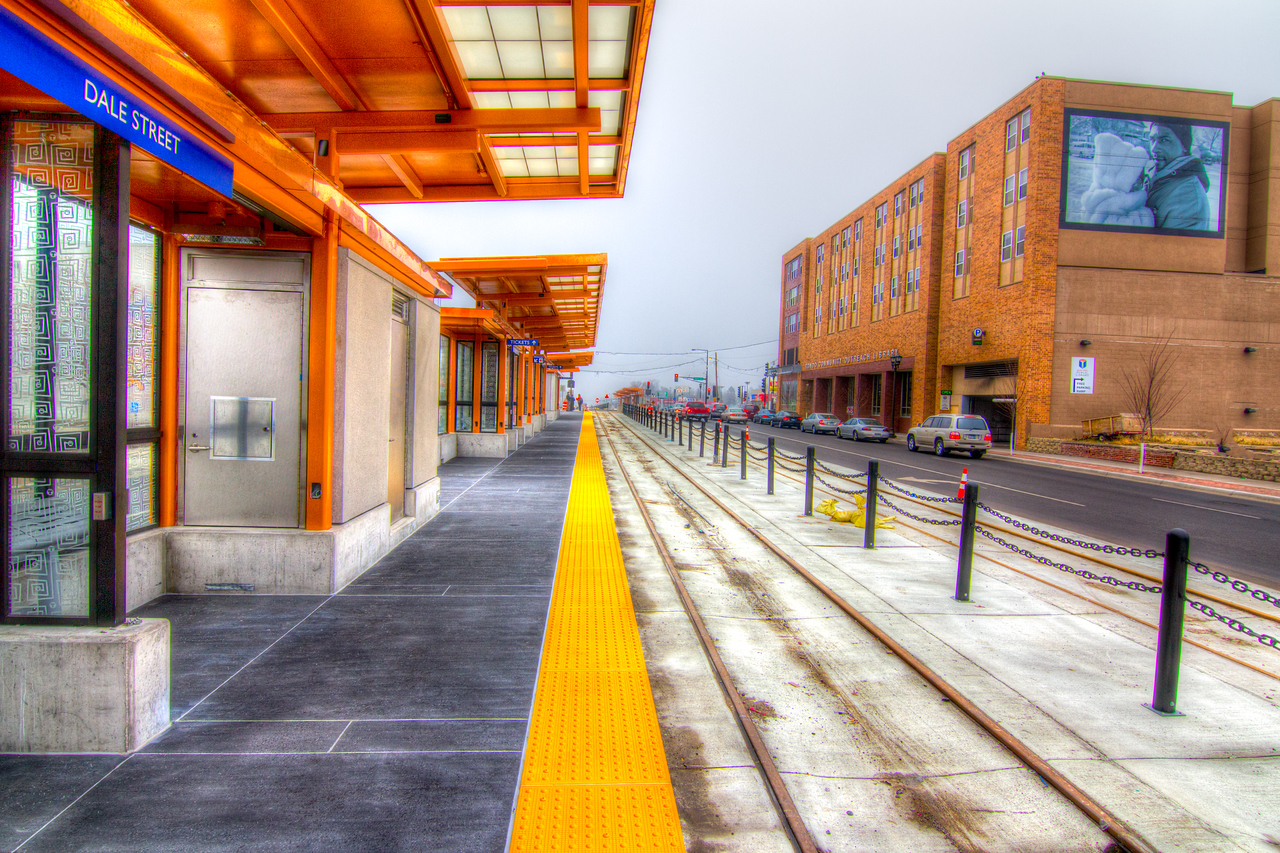 New train stop at Dale Street.<br /> <br /> All Copyrights Reserved by Saibal Ghosh.