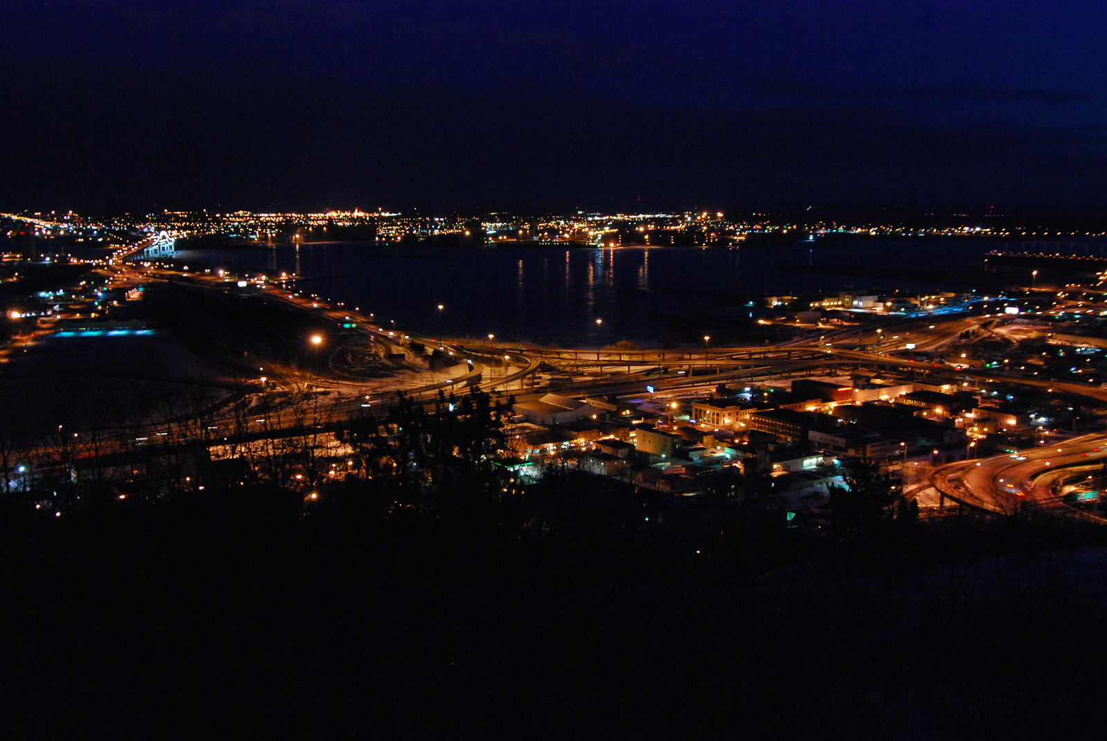 Duluth, Minnesota at night.