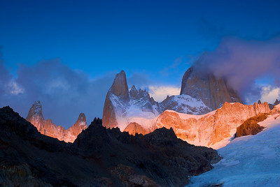 First Light Hits Mount Fitz Roy – Los Glaciares National Park, Patagonia, Argentina
