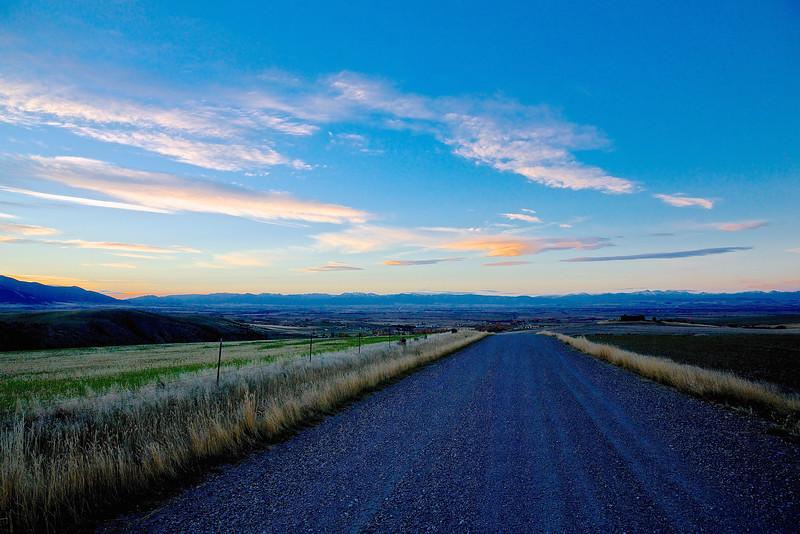 Blue Road.  Above Belgrade, Montana