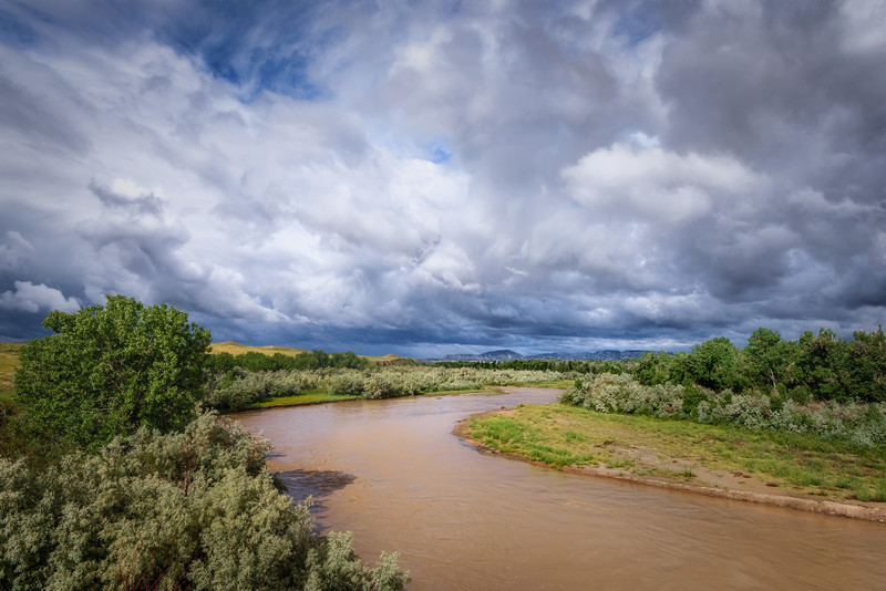 Clouds over the Powder River near Broadus, Montana