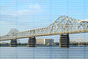 George Rogers Clark Memorial Bridge aka the Second Street Bridge spans between Jeffersonville, Indiana & Louisville, Kentucky crossing the Ohio River