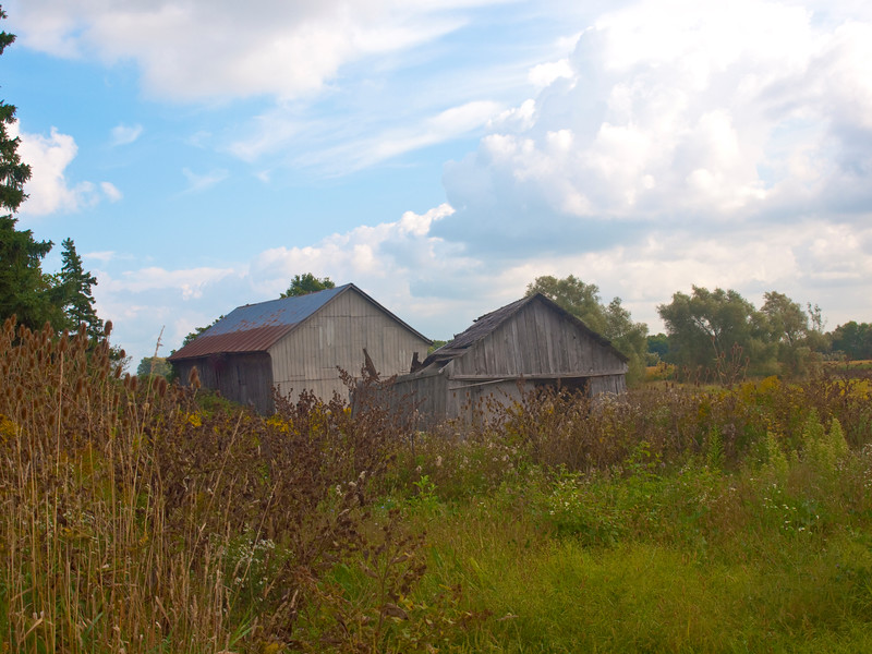 Abandoned farm near Stratford, ON<br /> <br /> This shot was originally taken in September 2009. I drove past it this past weekend (3 July 2011) and the back barn has not changed but the front one has collapsed with a bit of the peak showing. I was experimenting with DOF on this pic, looking now I like the DOF a lot.