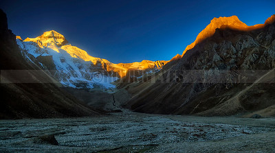A19:Mt Adi Kailash (5945 Mtrs) shining golden in the early morning light,as seen from Jolinkong on the Adi Kailash trek, Uttranchal