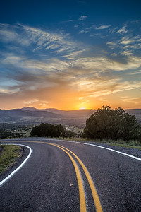 Sunset road in New Mexico